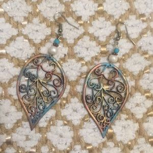 Copper Turquoise Large Lightweight Leaf Earrings